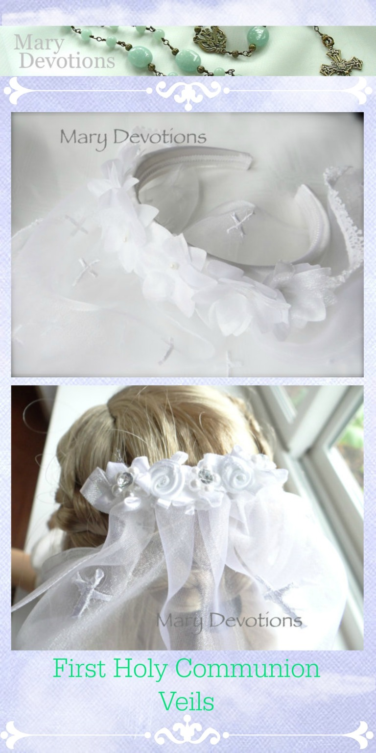 tall dream First Holy Communion veil mary de