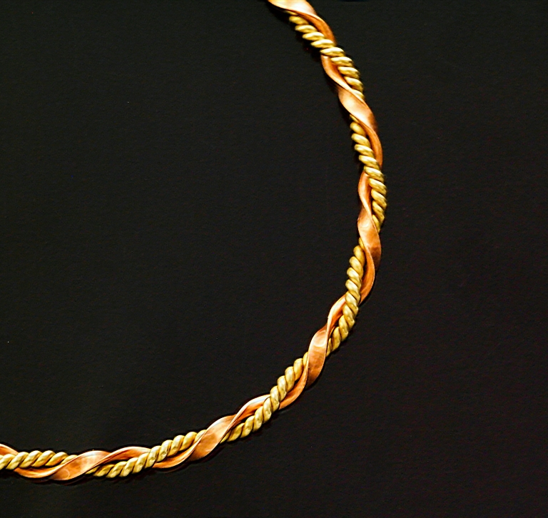 Double Twisted Round Brass with Half Round Copper