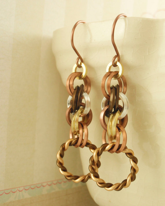 Square On Edge Double Spiral Earrings in Mixed Metals