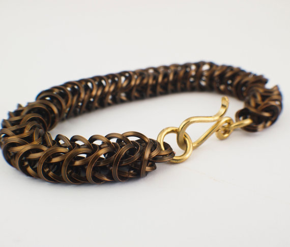 Square On Edge Inca Puno Bracelet in Vintage Bronze with a hand forged brass clasp