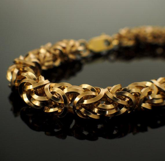 14kt Gold Filled Square On Edge Byzantine Bracelet
